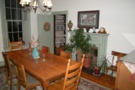 View of dining room table and fireplace